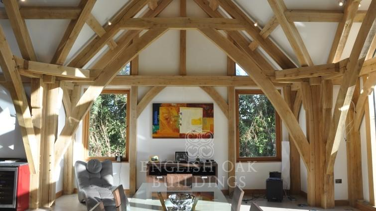 Oak Frame house, sling brace trusses, Holyport, Berkshire cropped