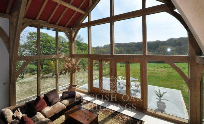Green Oak Frame House, and glass wall, Cornwall