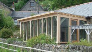 Green oak frame garden room conservatory, Wales 2