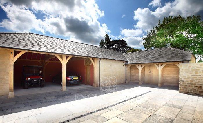 Oak frame Garage with stone and oak cladding