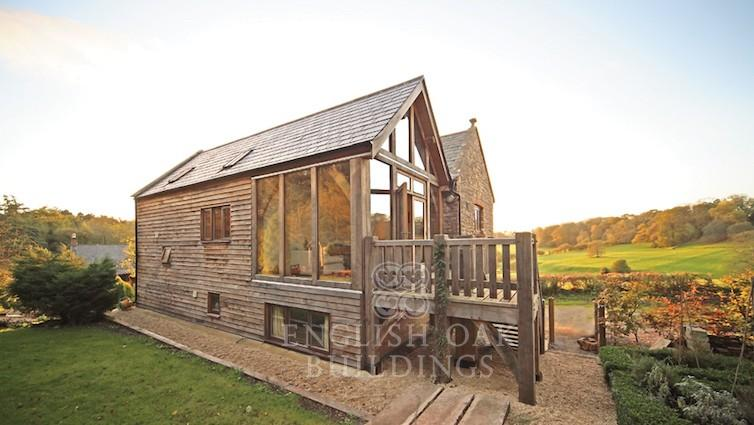 oak frame house with direct glazing