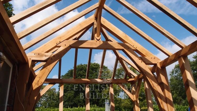 Oak frame garden room sling brace truss, Willowbank
