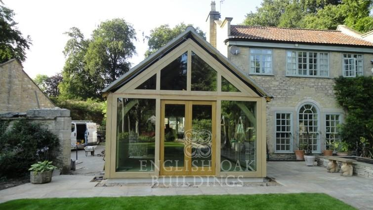 Green Oak Extension with direct glazing