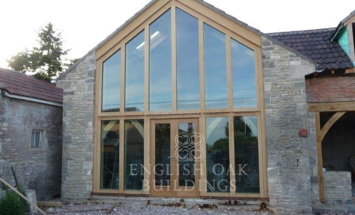 The Barn, Tuton Hill. direct glazed oak gable screen