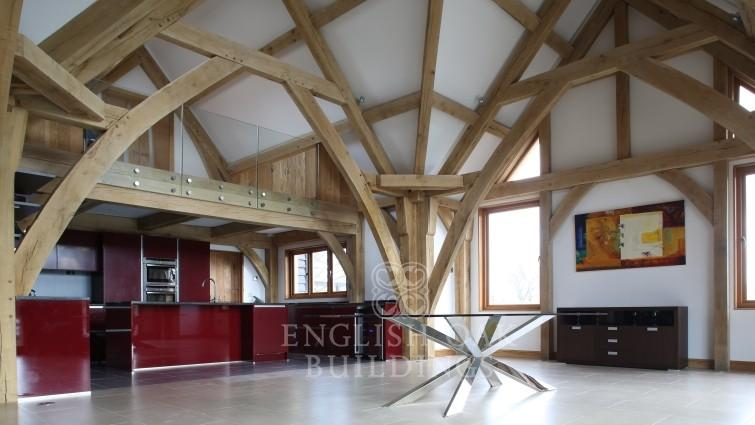 Oak Frame house, sling brace truss, Holyport, Berkshire