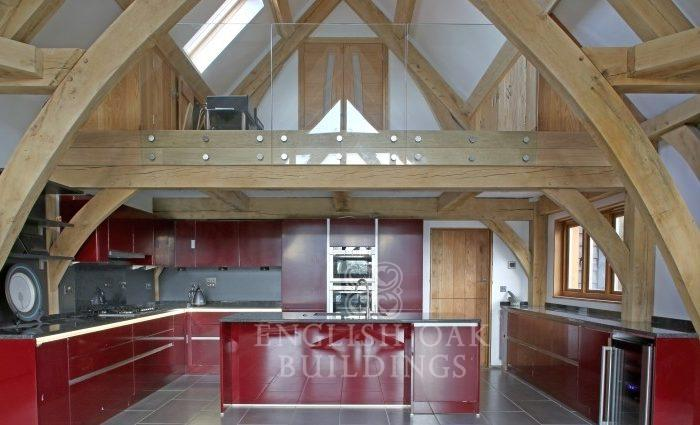 Oak Frame house, sling brace truss, Kitchen, Holyport, Berkshire