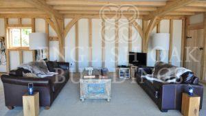 oak frame beams and joist in living room