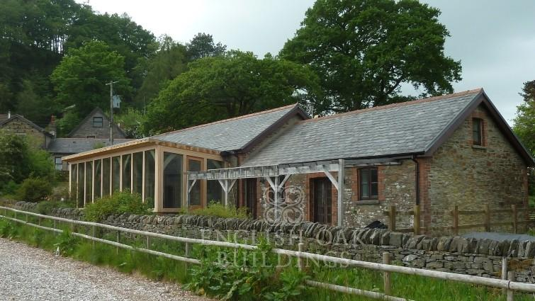 Green oak frame garden room conservatory, Wales