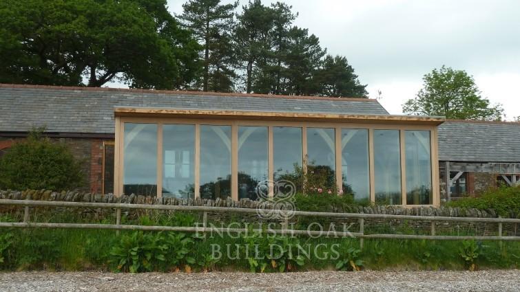 Green oak frame garden room conservatory, sun room, Wales