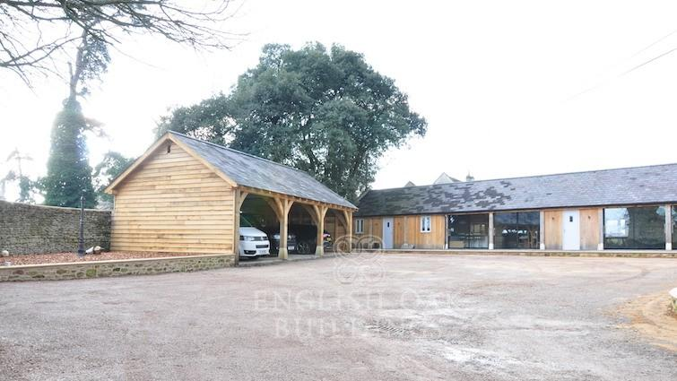 Garages barns english oak buildings for Tre bay garage