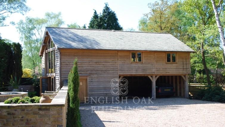 Oak frame garage and Office outbuilding