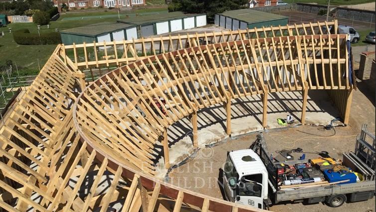 Our largest frame yet… is an 9-bay oval garage!