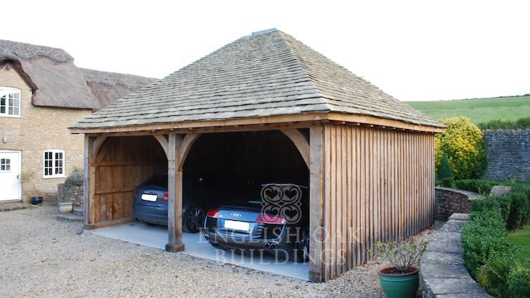 Oak-frame-garage-two-Bay-with-hipped-roof