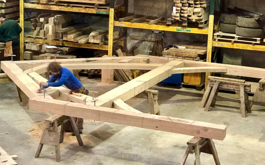 Currently in the English Oak Buildings workshop… sling brace truss work!