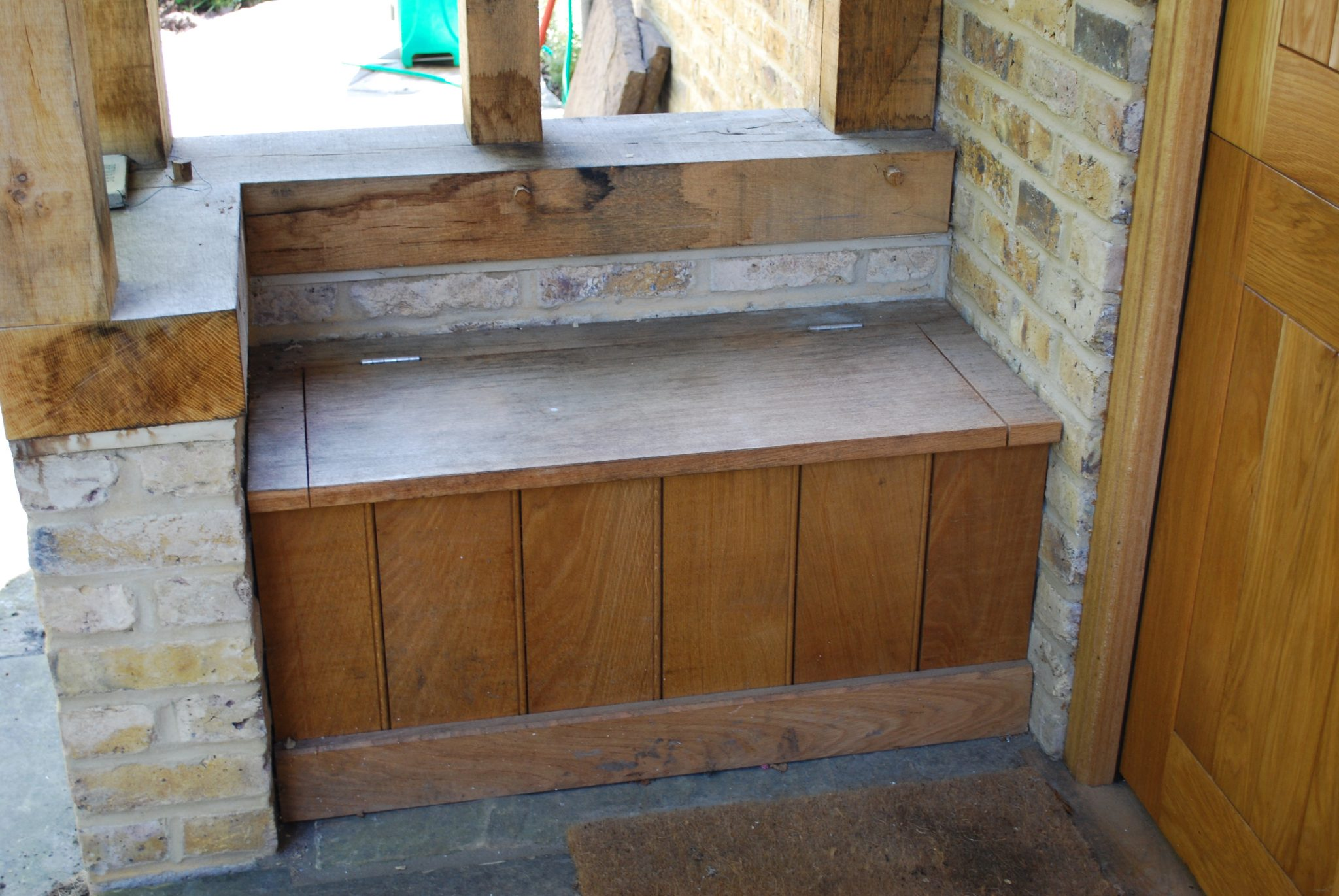 oak frame porch with boot seat - Mullberry