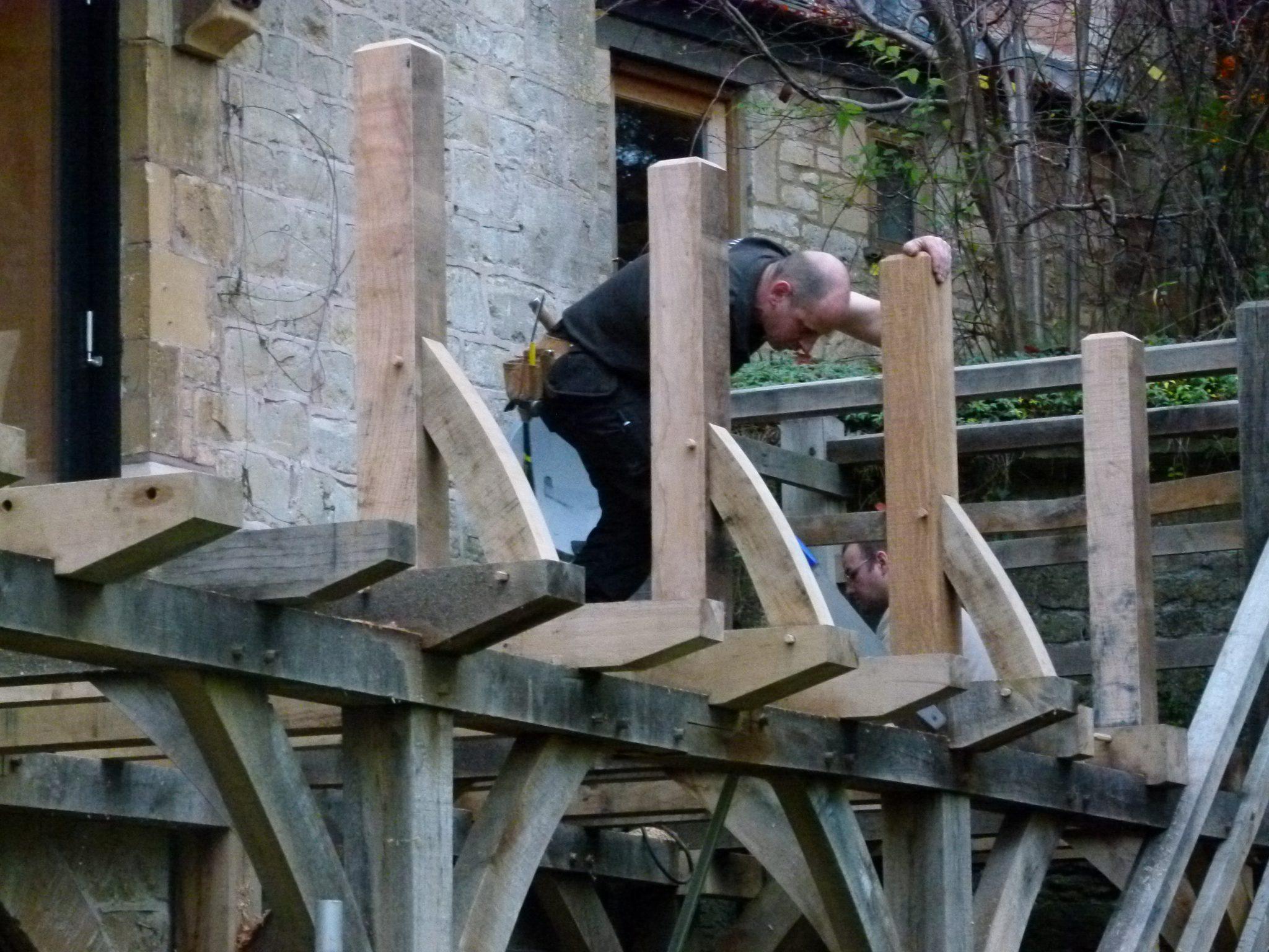 oak pergola and balcony -Turleigh - Wiltshire